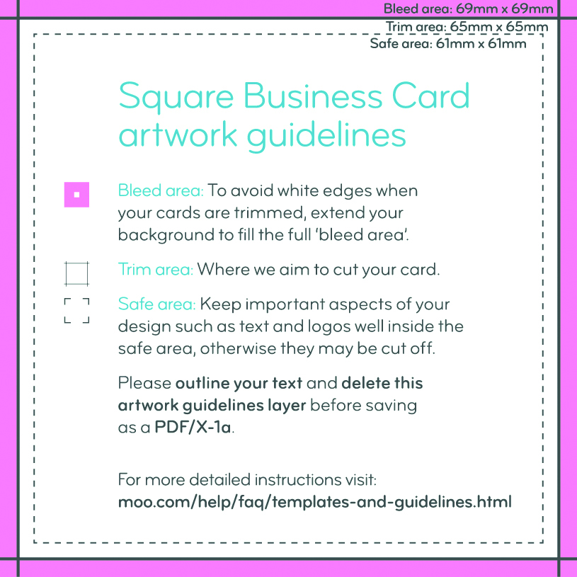 Artwork Templates Guidelines MOO United Kingdom - Business card template indesign