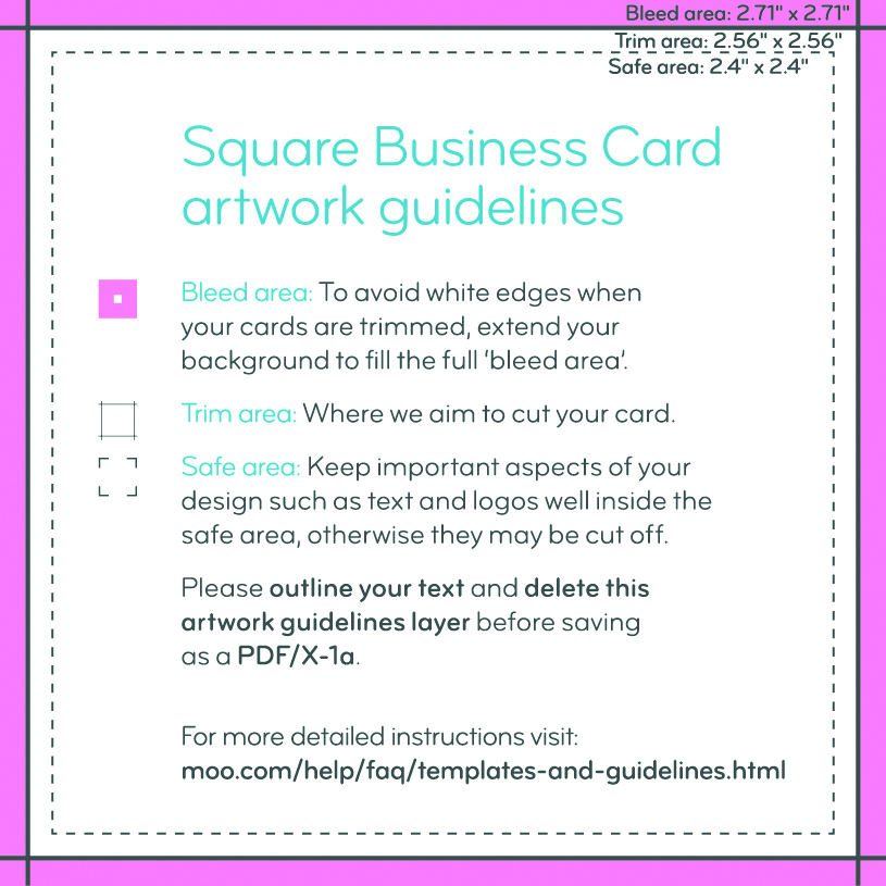 Business Card Size Guidelines Artwork Templates MOO - Business card template indesign