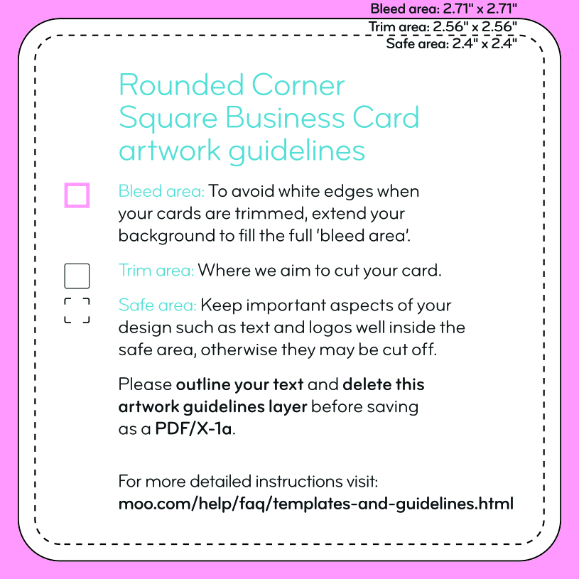 moo business card rounded corners template by square business cards templates moo support - Square Business Card Size